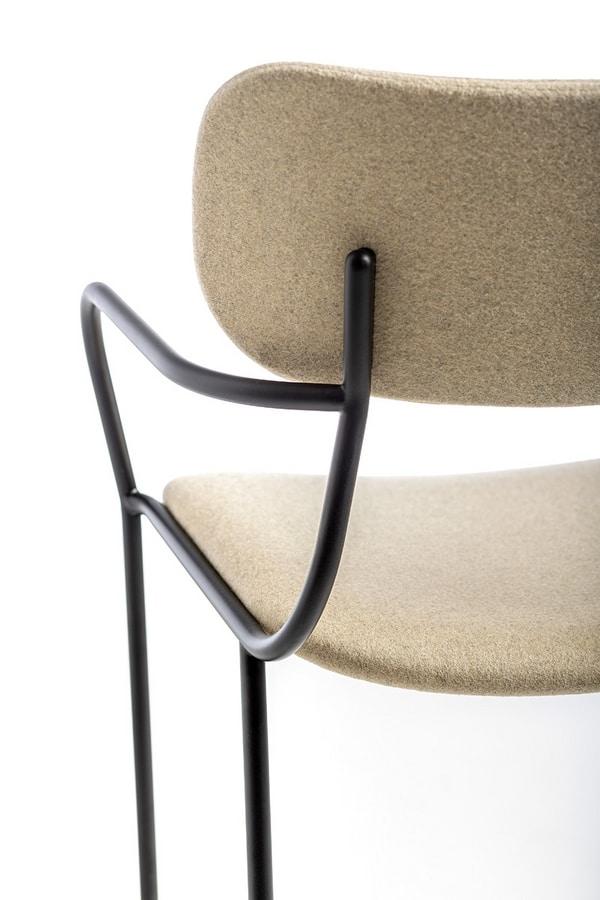 Kiyumi Fabric ST, Sgabello in metallo con braccioli