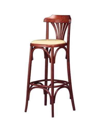 119, Sgabello retrò, in legno curvato, seduta imbottita