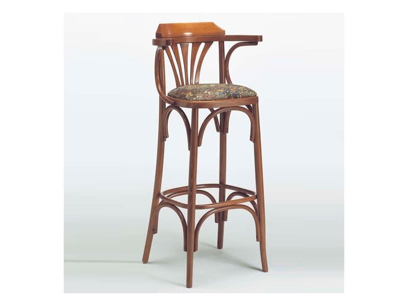 Sgabello classico in legno seduta imbottita per bistrò idfdesign
