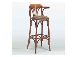 120, Sgabello classico in legno, seduta imbottita, per Bistrò
