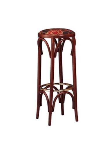 123, Sgabello in legno in stile Bistrò, seduta rotonda