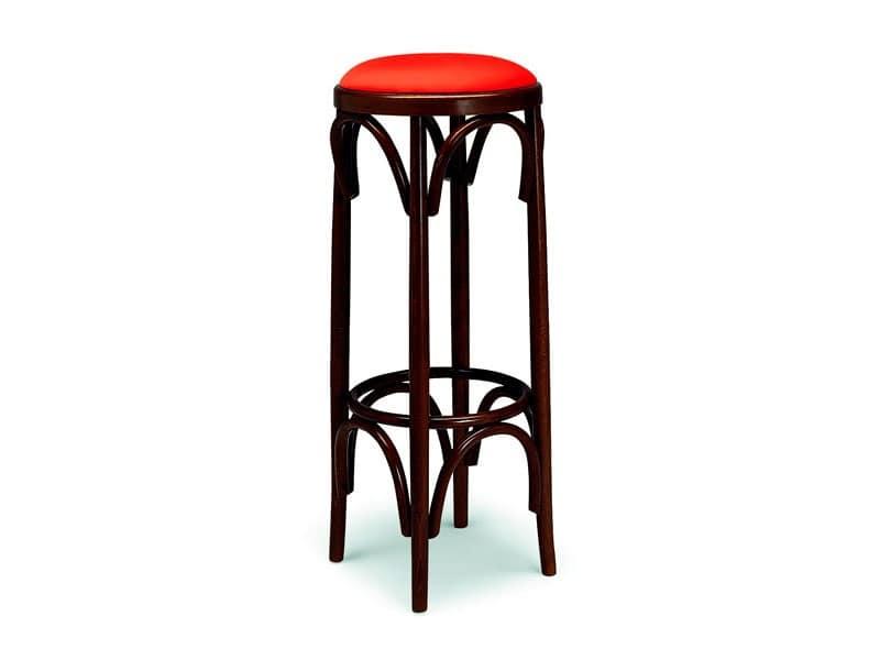 Sgabello in legno curvato sedile imbottito per bar e pub idfdesign