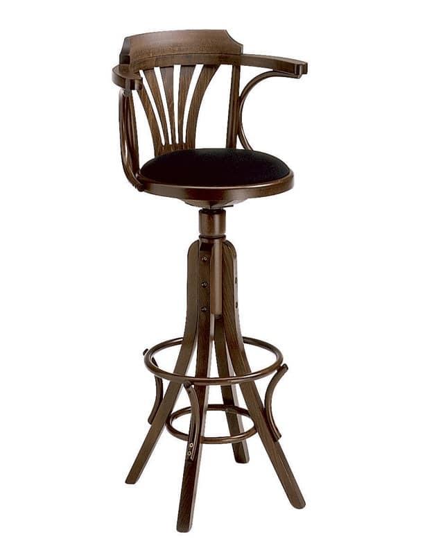 Nelson, Sgabello girevole in legno curvato, per Enoteca e pub
