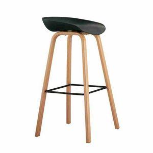 Sgabello alto per Bar e Cucina Effetto Legno TOWERWOOD - SGA696LE, Sgabello con gambe in legno con poggiapiedi
