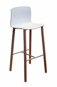 Slot Stool 78 BL, Sgabello design in legno e polimero, per alberghi