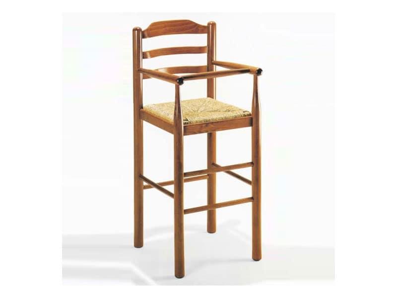 200, Sgabello in legno massello, seduta in paglia, stile rustico