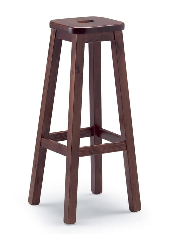 Sgabello robusto in legno di pino per osterie e case for Sgabelli bar legno