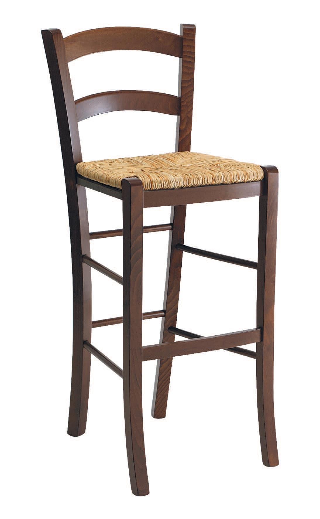 Sgabello rustico in legno con seduta in paglia per bar for Sgabelli bar legno