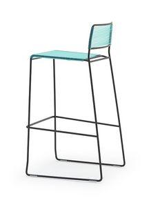 Log spaghetti ST, Sgabelli impilabili, schienale e il sedile sono in corda di PVC colorata, adatto per uso esterno