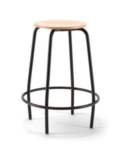 Mea Wood 04, Sgabello fisso con seduta in legno