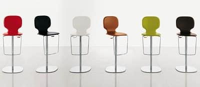 NEW YORK, Sgabello con base regolabile in metallo cromato, seduta in legno e cuoio