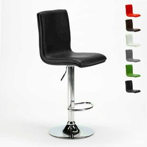 Sgabello alto da bar e cucina regolabile con schienale COLUMBUS Design - SGA800COL, Sgabello in pelle, regolabile in altezza