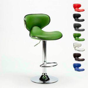 Sgabello per cucina e bar AMARILLO Design Moderno girevole cromato - SGA800AMA, Sgabello con struttura cromata e seduta in similpelle