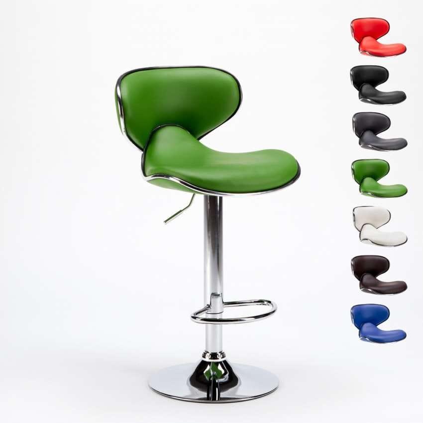 Sgabello con struttura cromata e seduta in similpelle   IDFdesign