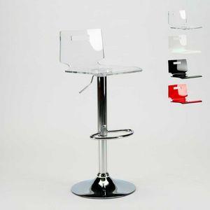 Sgabello per bar e cucina acciaio cromato SAN JOSE Design Moderno - SGA800SNJ, Sgabello con scocca in plastica trasparente