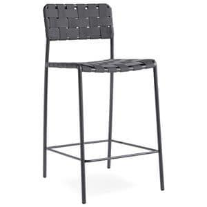 OLA SG65, Sgabello in metallo, seduta e schienale fatto con cinghie