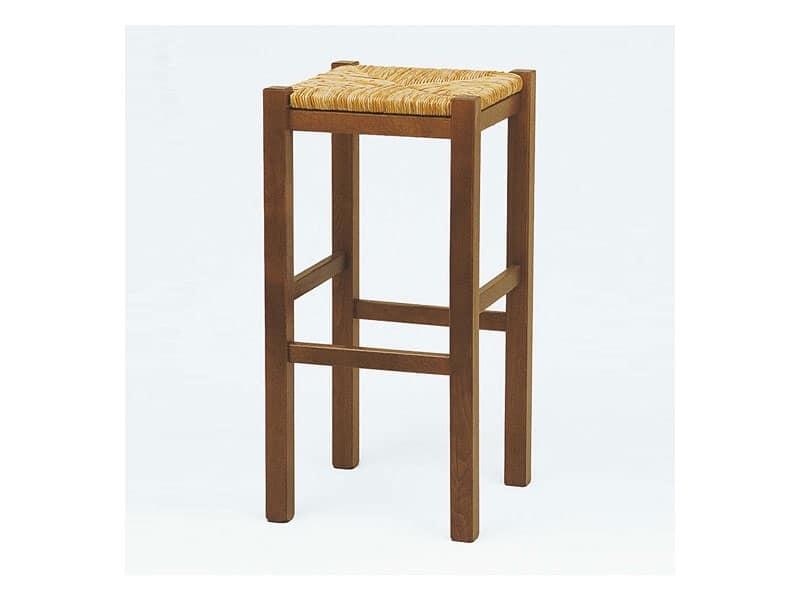 Sgabello alto con seduta in paglia per taverne e osterie idfdesign