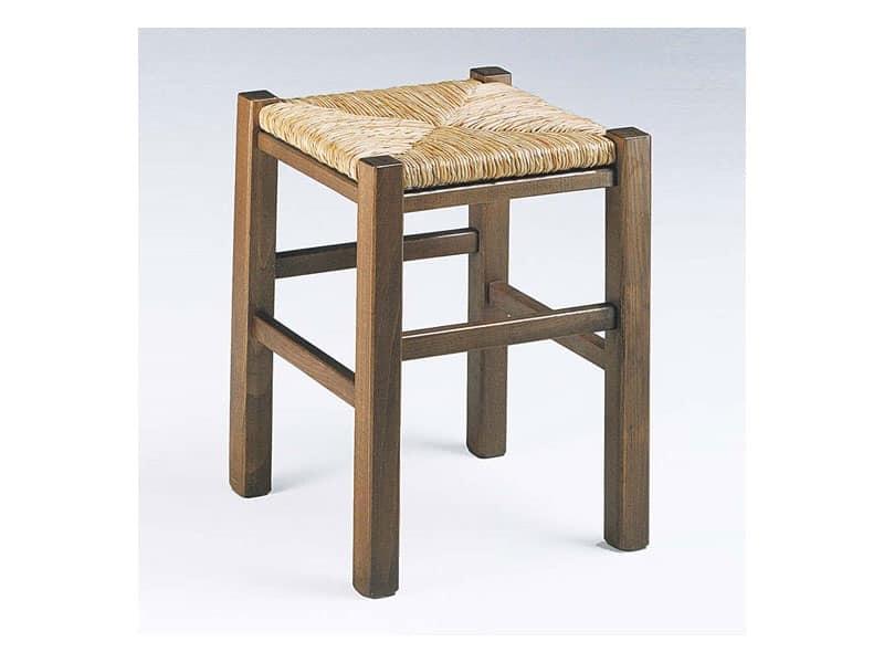 Sgabello rustico quadrato con seduta in paglia per enoteca