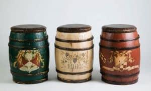 Art. DEC 20, Sgabello in legno rustico, a forma di botte, decorati a mano