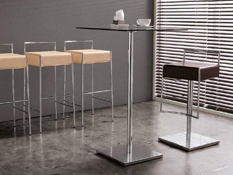 Sgabello moderno in metallo e cuoio dalle linee moderne idfdesign - Sgabello design cucina ...
