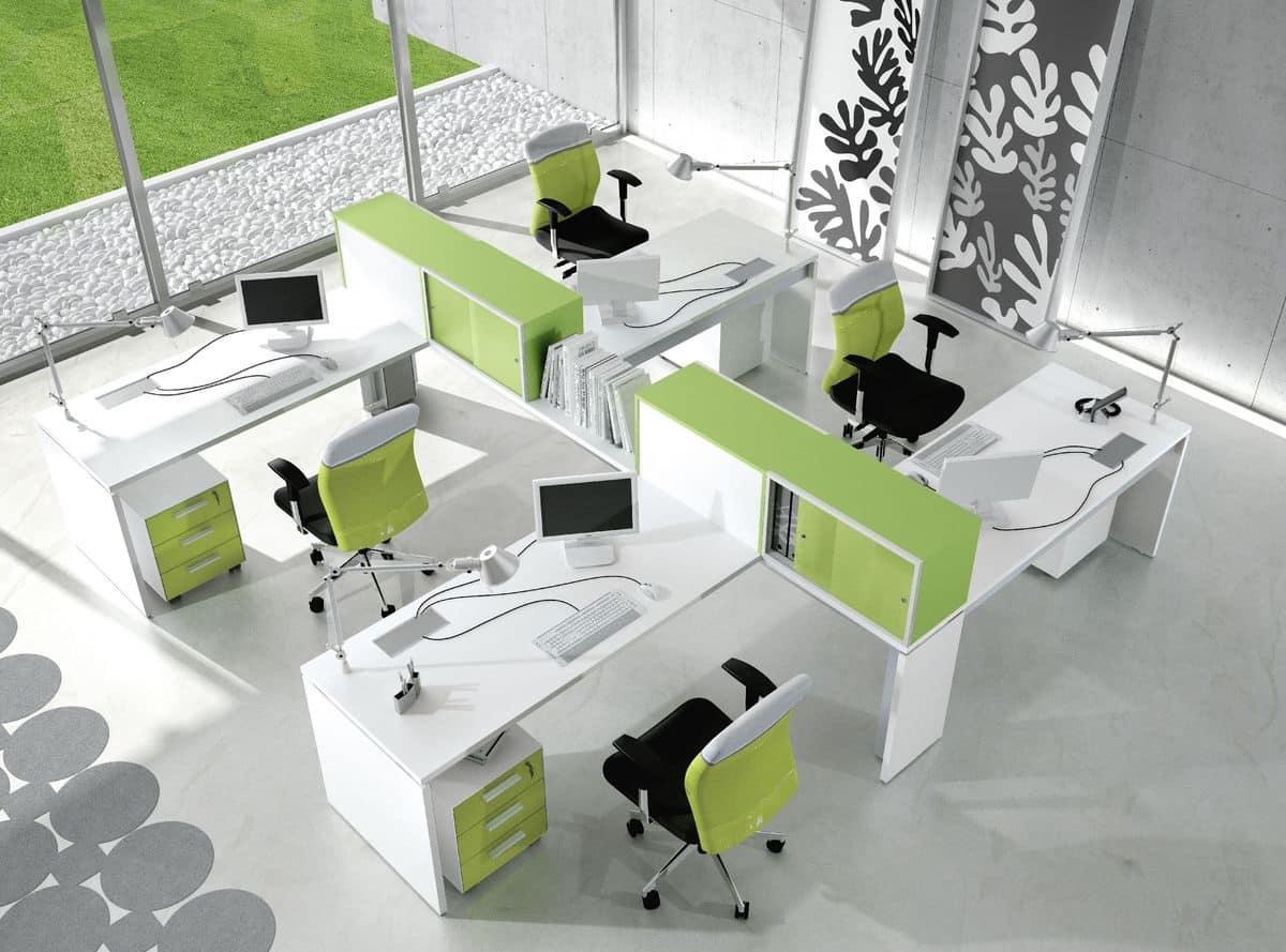 Sistema di tavoli per ufficio operativo in stile moderno for Catalogo design di mobili per ufficio