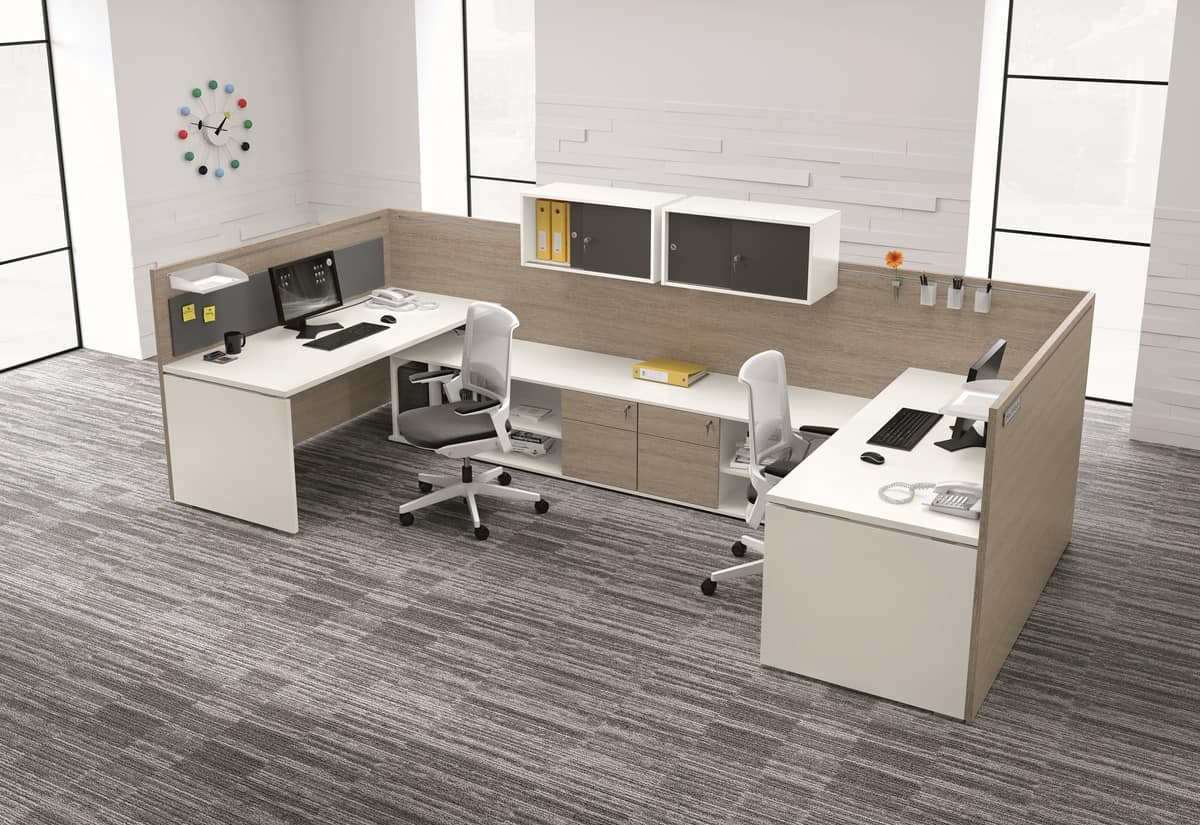 Sistema componibile per ufficio con mensole e cassettiere for Mensole per ufficio
