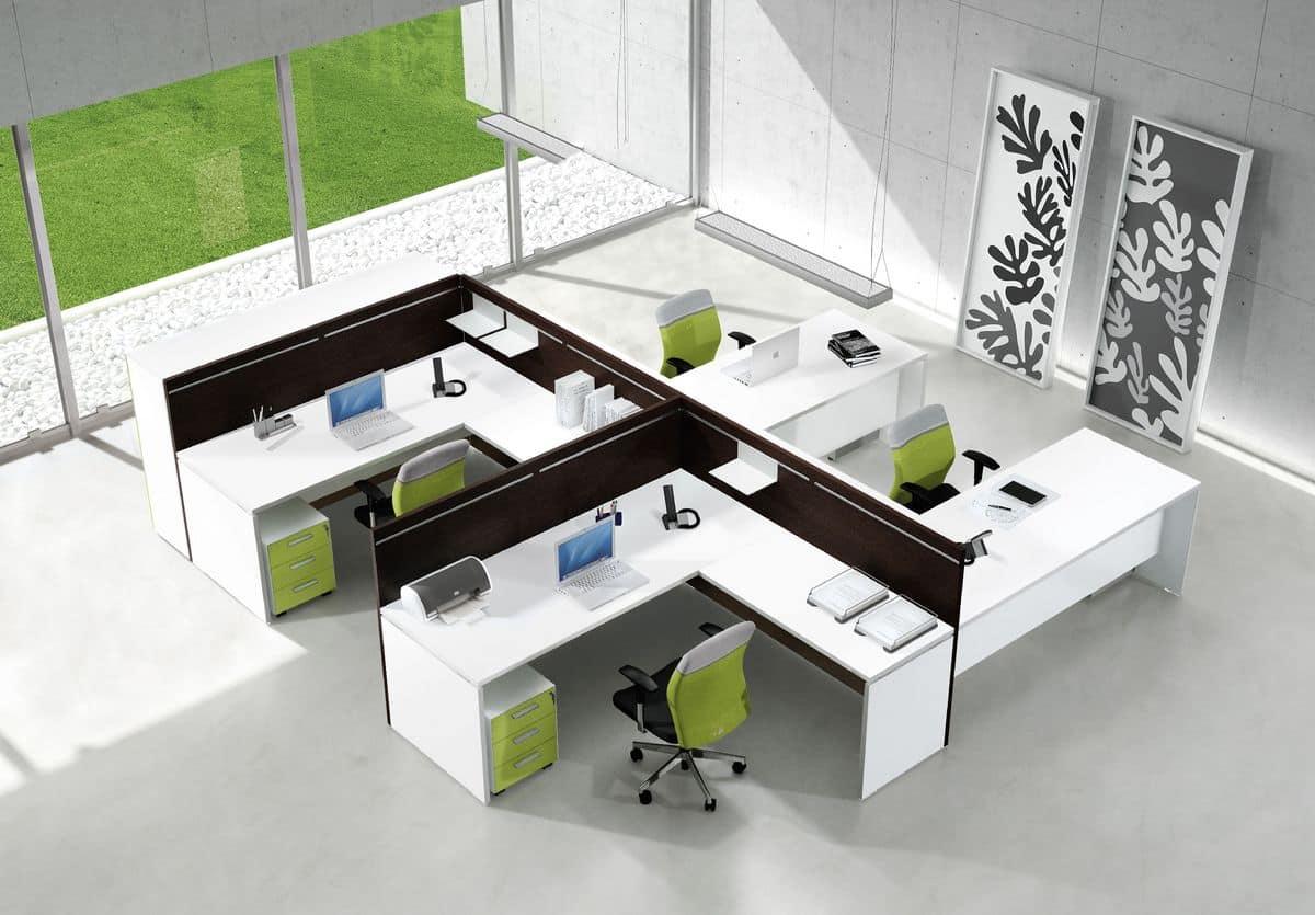 Postazioni operative per uffici con contenitori modulari for Scrivanie operative ufficio
