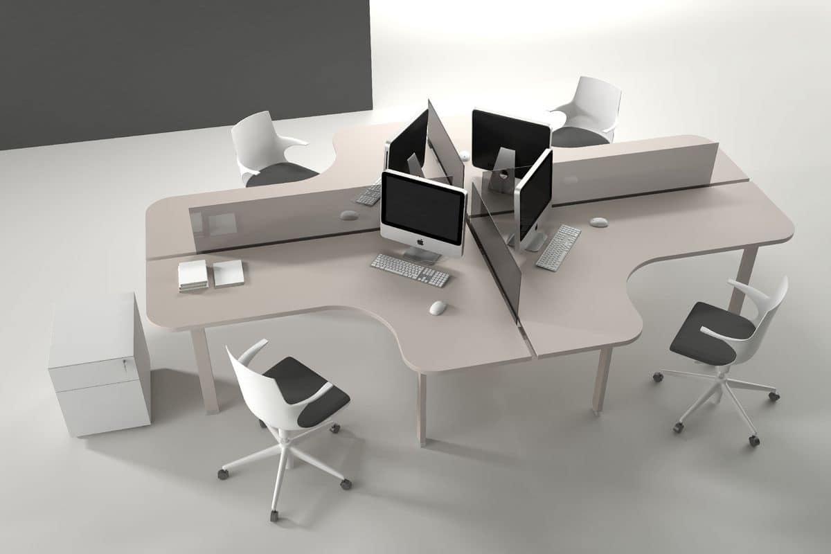 Sistema tavoli operativi per uffici moderni e funzionali for Design ufficio scrivania