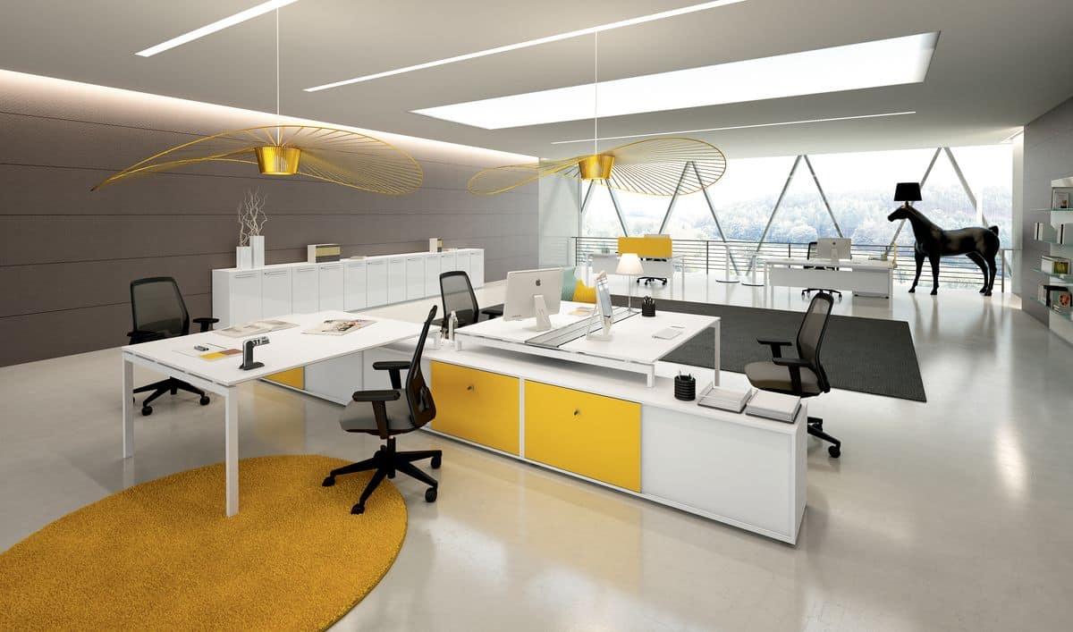 Scrivania operativa ideale per uffici moderni idfdesign for Uffici moderni