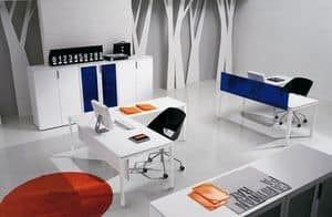 Pegaso comp.1, Postazioni ufficio moderne, multiple, struttura metallica