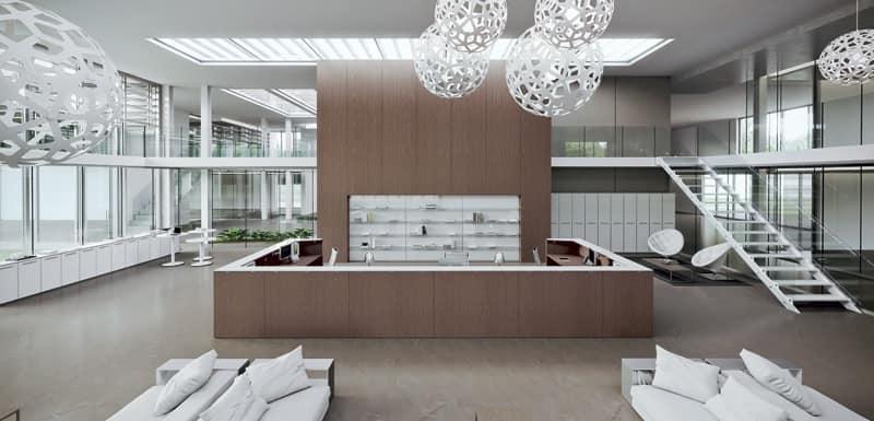 Ampio bancone bancone reception modulare bancone moderno for Aziende design