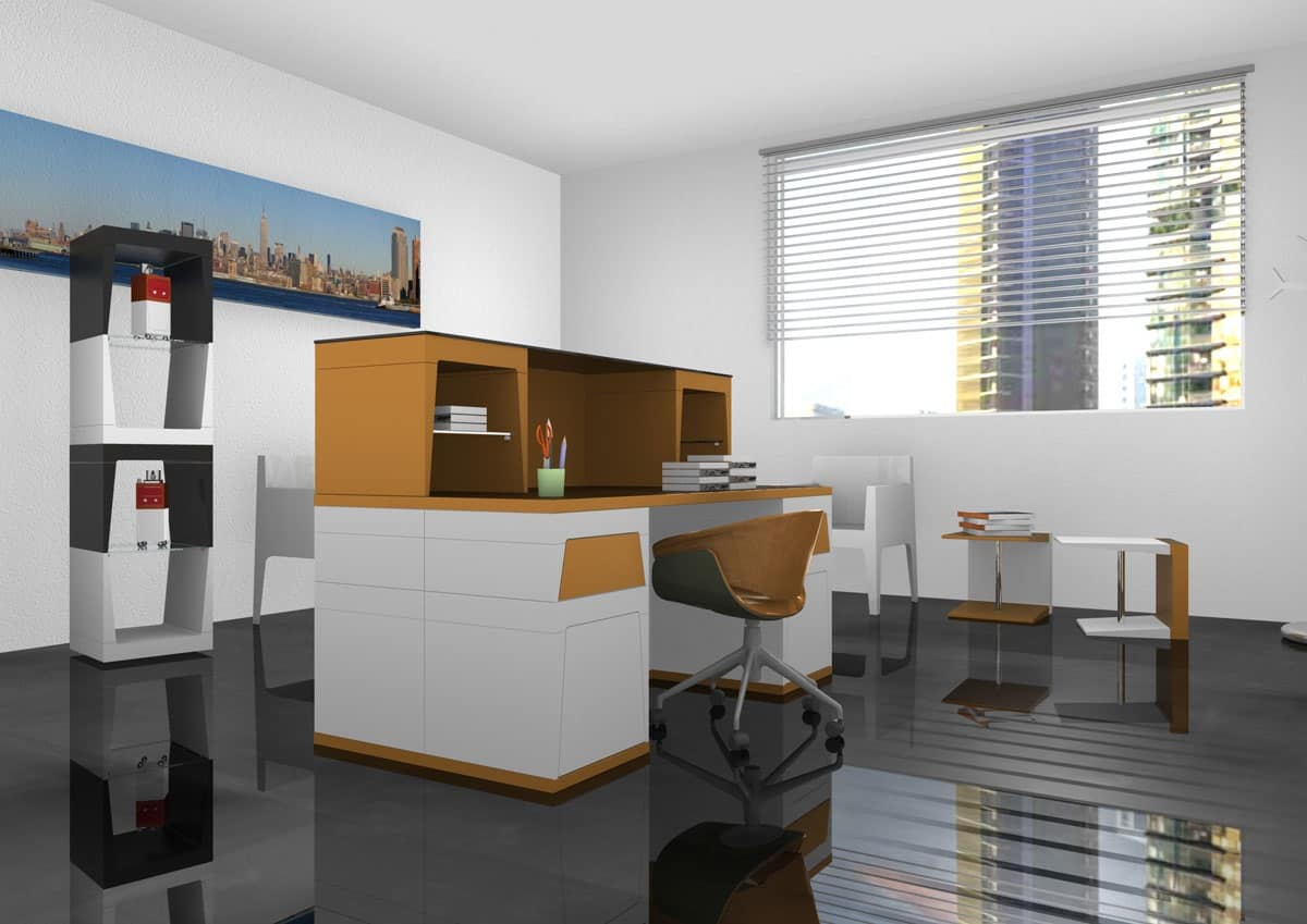 Scrivania modulare in laminato per ufficio operativo for Scrivania reception