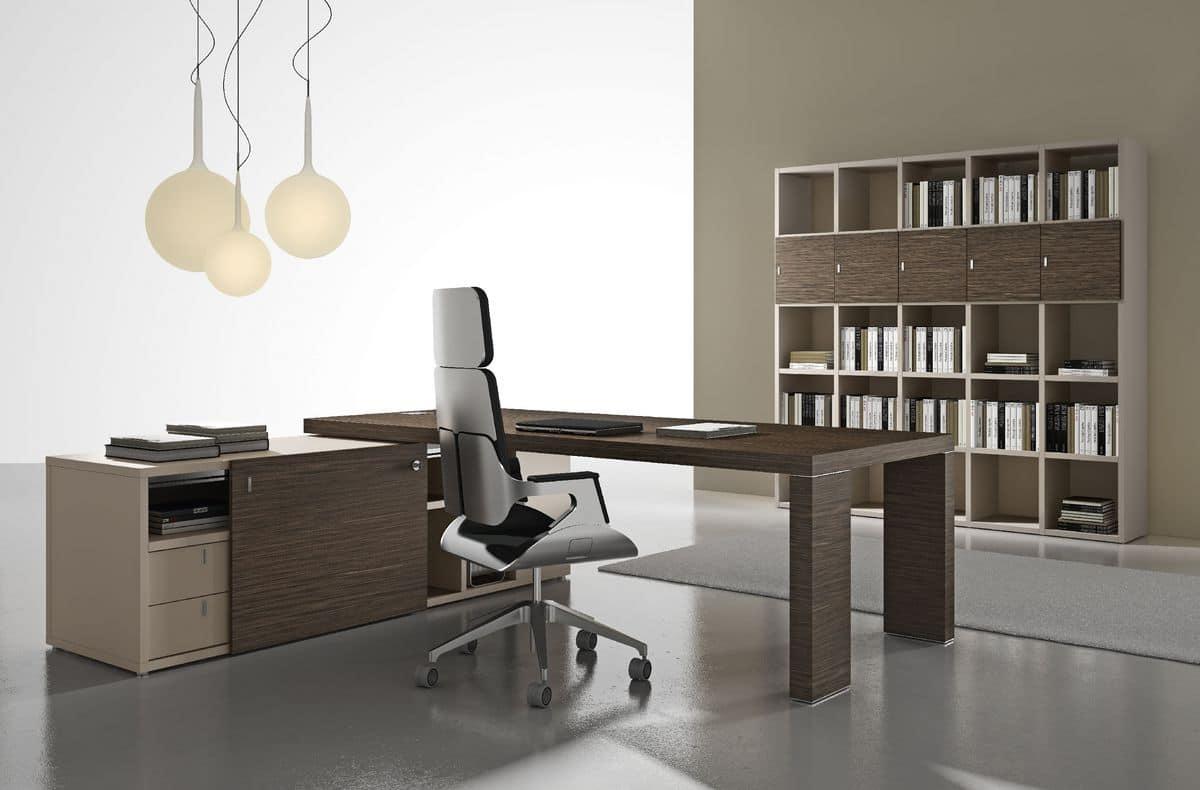 Tavoli Riunione Ufficio Ikea : Tavolo per ufficio direzionale moderno in ebano silver idfdesign