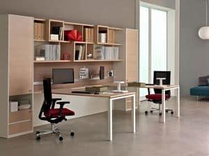 Workwall Asterisco In, Libreria attrezzata per ufficio, mobile a parete