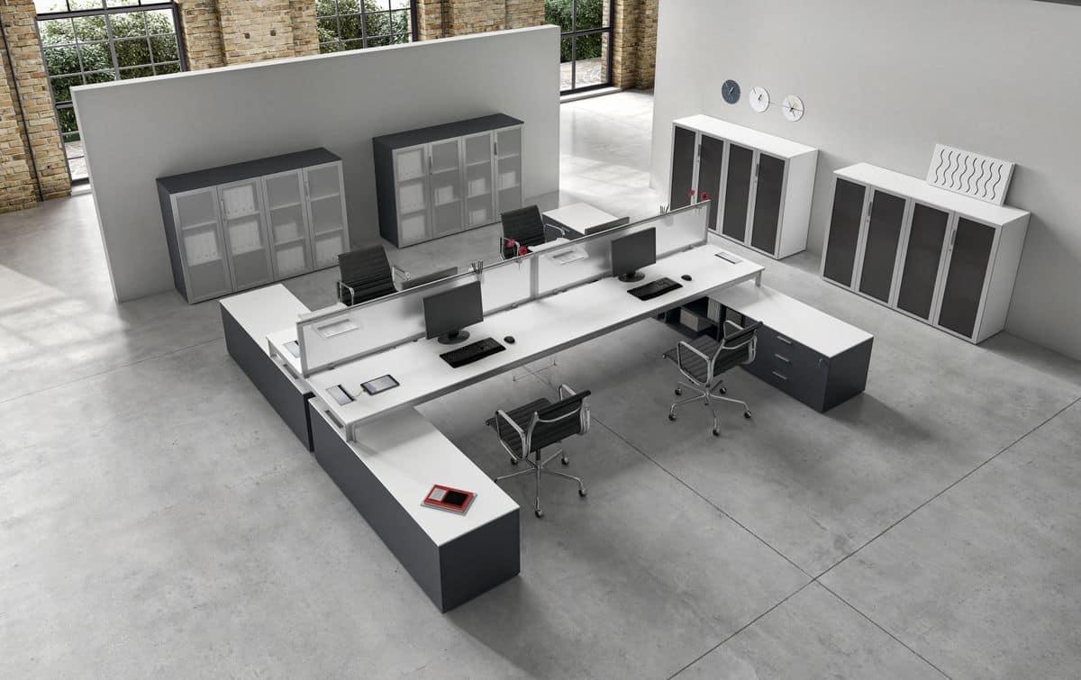 Tavolo 4 postazioni operative ideale per uffici moderni for Scrivanie operative ufficio