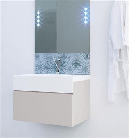 Specchiera da bagno con serigrafia a motivo floreale - Serigrafia su specchio ...