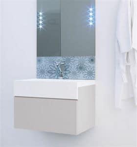 Fiori specchio, Specchiera da bagno con serigrafia a motivo floreale