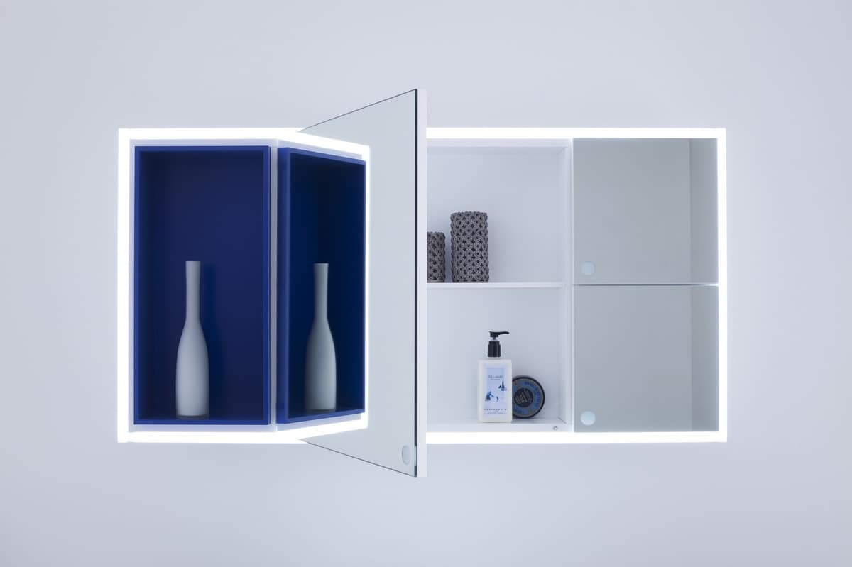 Pratico specchio contenitore per bagno idfdesign - Specchi bagno con contenitore ...