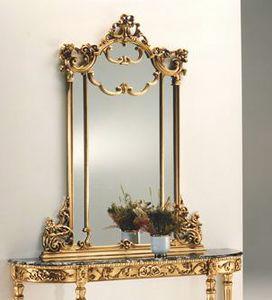 2635 SPECCHIERA, Specchiera foglia oro, in legno intagliato