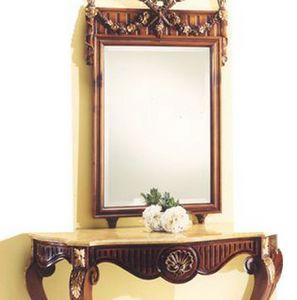 2935 SPECCHIERA, Specchiera con cornice in legno intagliato
