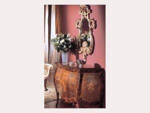 3245 SPECCHIO, Specchio classico di lusso, finiture in foglia argento