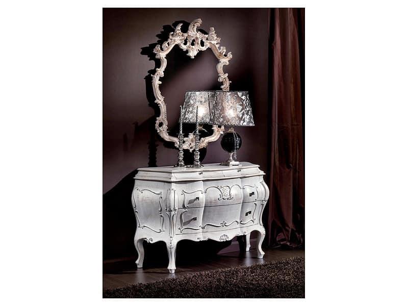 Specchiera intagliata a mano classica finitura laccata - Specchi in stile ...