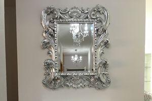 Loto specchiera piccola, Specchiera classica di lusso con cornice in finitura foglia oro