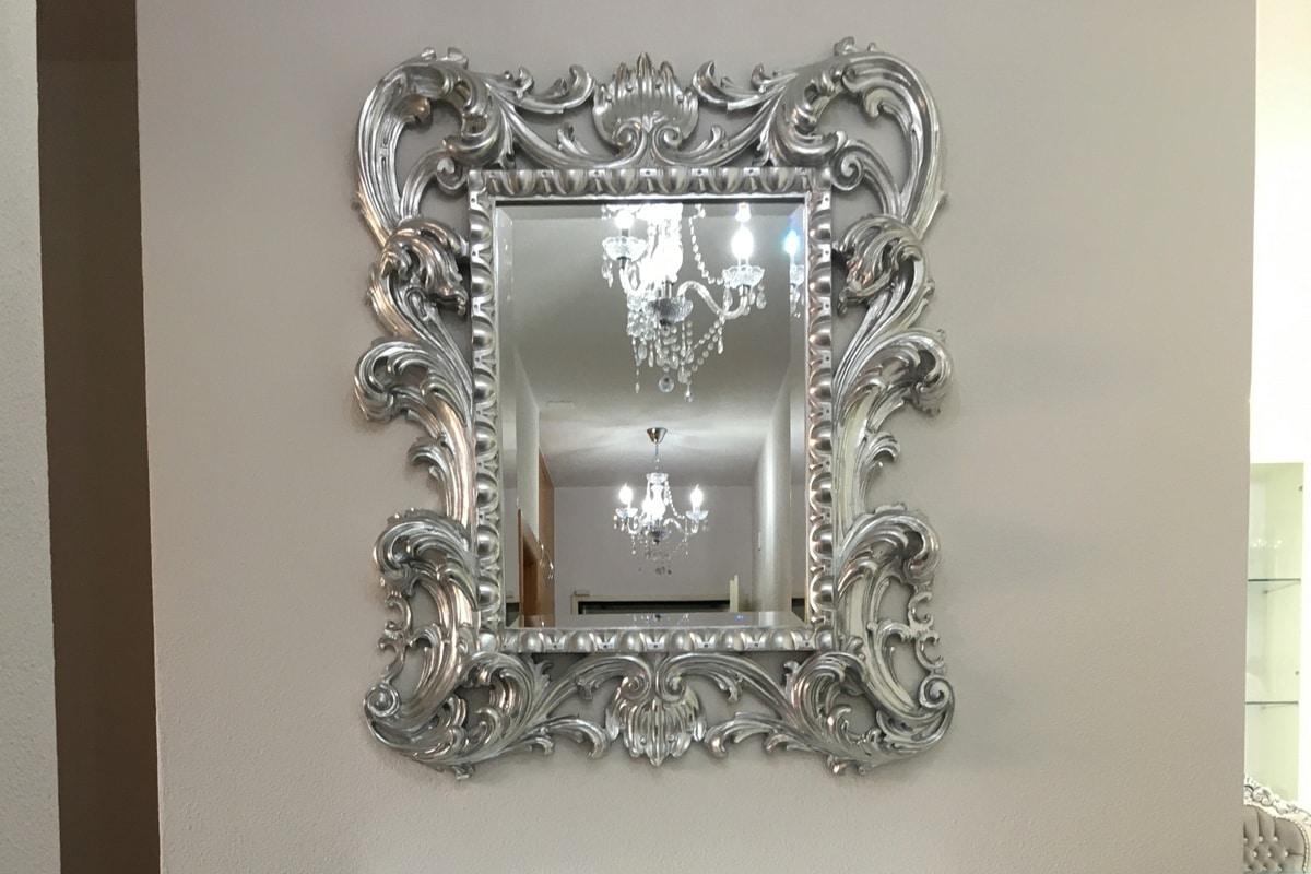 Loto piccola, Specchiera classica di lusso con cornice in finitura foglia oro