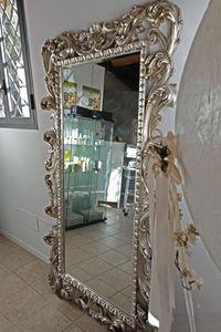 Loto grande, Specchiera rettangolare con finitura foglia oro