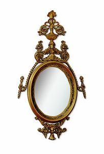 4617, Specchiera ovale con intaglio e trafor