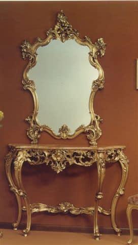 Consolle Classiche Dorate.Specchiera Con Cornice Intagliata Finitura In Foglia Oro