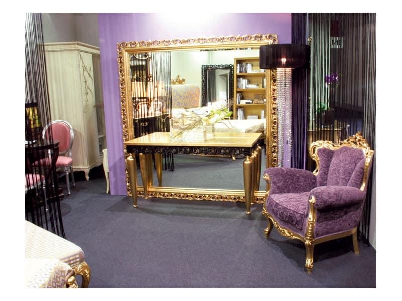 Art. 1799 Audrey, Specchio classico ampio, quadrato, in legno, per hall