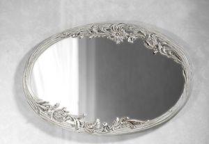 Art. 20525, Specchiera bianca, con intaglio floreale