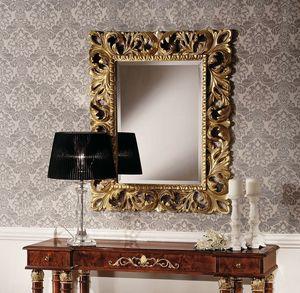 Art. 2059 MIRROR, Specchiera classica in foglia oro, intagliata a mano